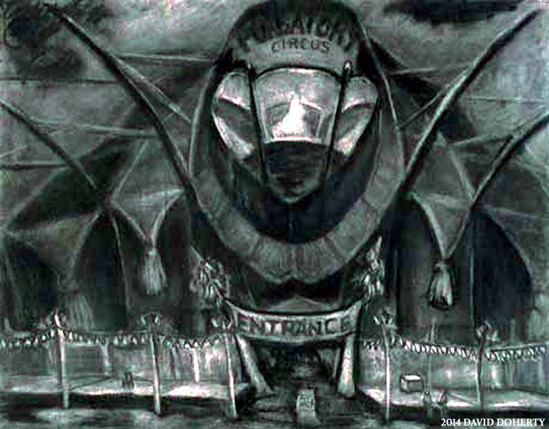 """The Purgatory Circus Tent / 20"""" x 30"""" charcoal on paper"""