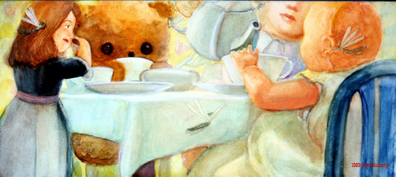 """Toy Tea Party / 11"""" x 20"""" watercolor on board"""