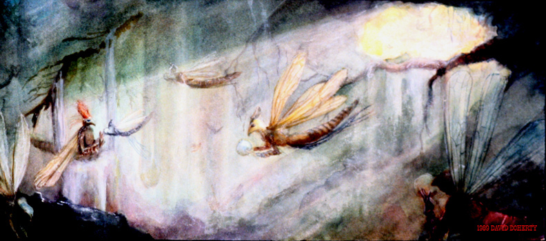 """The Wood Fairies / 11"""" x 20"""" watercolor on board"""