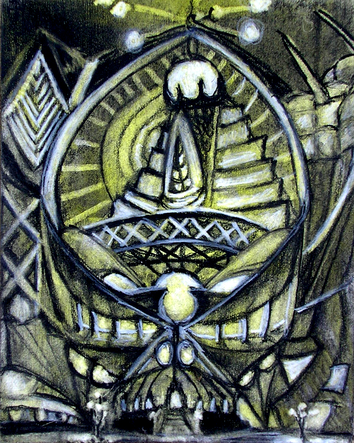 """The Tiki House / 15"""" x 10"""" charcoal, pastel, acrylic on board"""