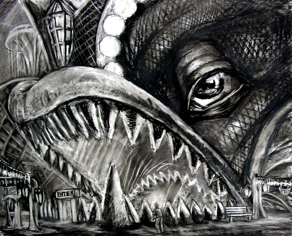 """Entrance to the Boat Ride / 30"""" x 40"""" charcoal, pastel on board"""