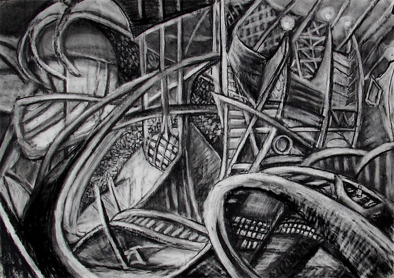"""Leaving the Station on the Boat Ride / 30"""" x 40"""" charcoal, pastel on paper"""