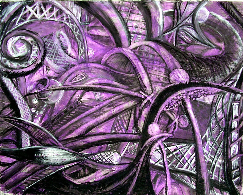"""Fishnets and Mermaids on the Boat Ride /  30"""" x 40"""" charcoal, pastel, acrylic on board"""