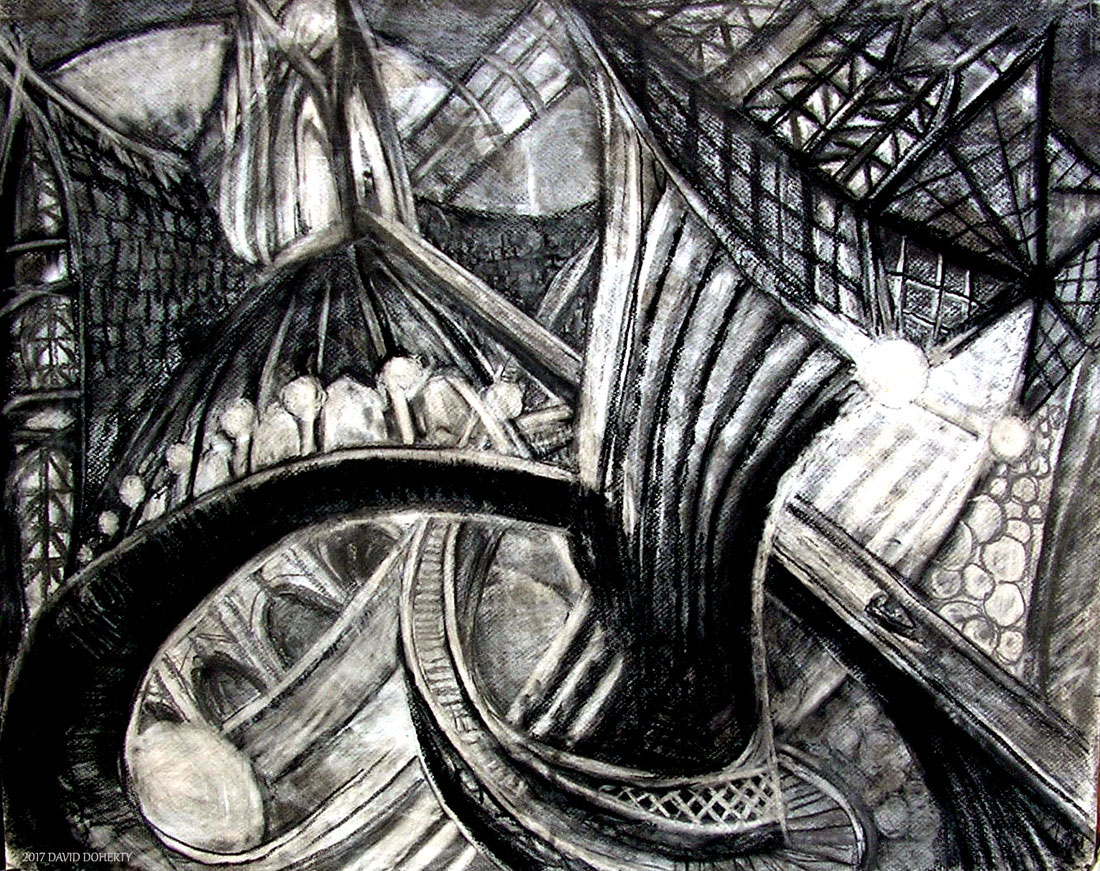 """In and Out of the Past on the Boat Ride / 30"""" x 40"""" charcoal, pastel, acrylic on board"""