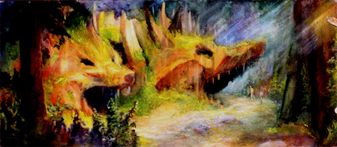 """Wolf Caves / 8"""" x 15"""" watercolor on board"""