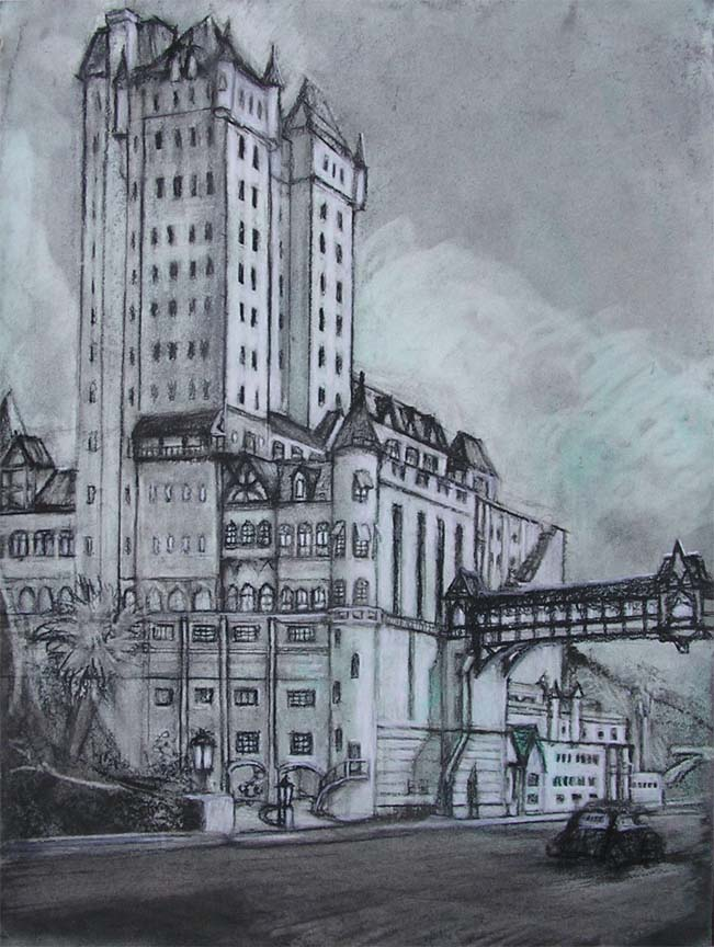 """The Gables / 20"""" x 15"""" charcoal, acrylic on board"""