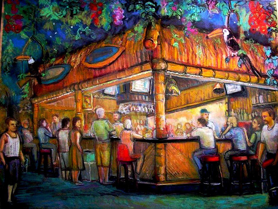 "Toucans Tiki Lounge / 20"" x 30"" pastel on paper"