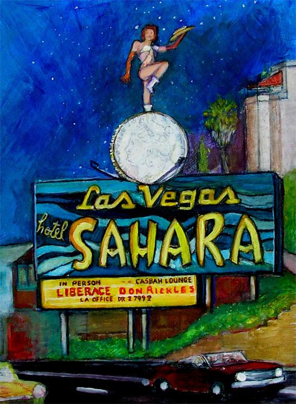 "Sahara Billboard on the Sunset Strip / 20"" x 15"" acrylic on board"