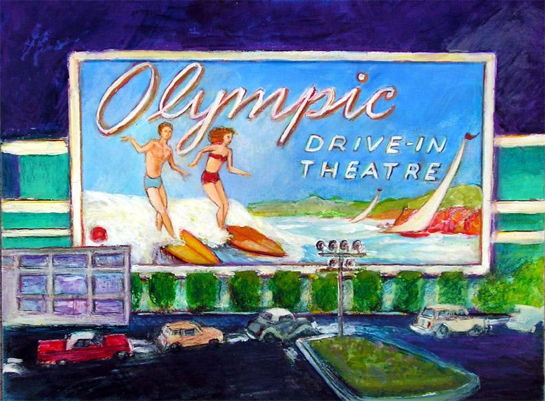 """Olympic Drive In / 15"""" x 20"""" acrylic on board"""