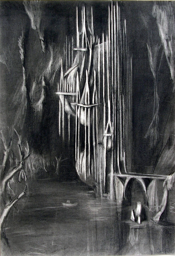 """Herrmann """"Prelude to Fahrenheit 451 : The Castle"""" / 40"""" x 30"""" charcoal on paper"""
