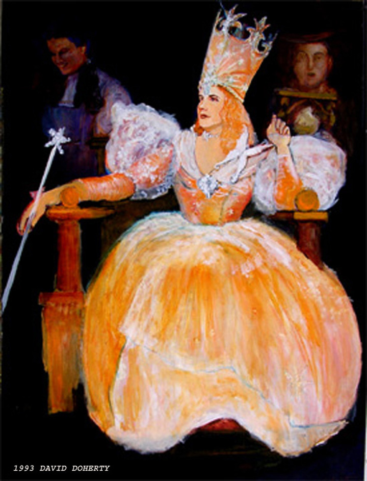 """Wizard of Oz, Glinda the Good Witch (via Raynolds) / 40"""" x 30"""" acrylic on board , Munchkinland Hall of Fame"""