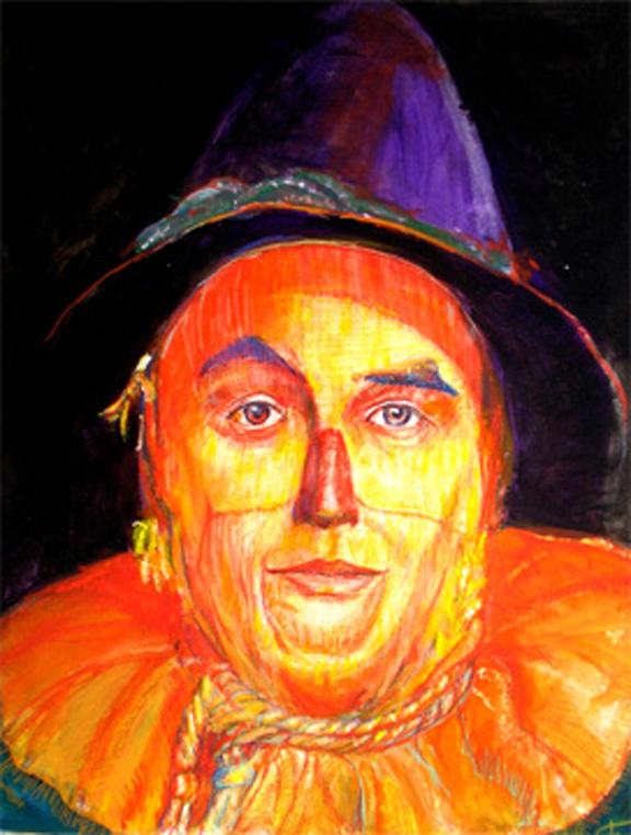 "Wizard of Oz, Scarecrow (via Halsman) 30"" x 20"" acrylic on board , Munchkinland Hall of Fame"