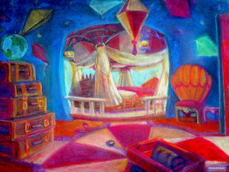 """The Balloon Room / 20"""" x 30"""" pastel on paper"""