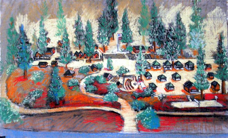 "Camp Junipero Serra, Wrightwood, California  / 15"" x 36"" pastel on paper"