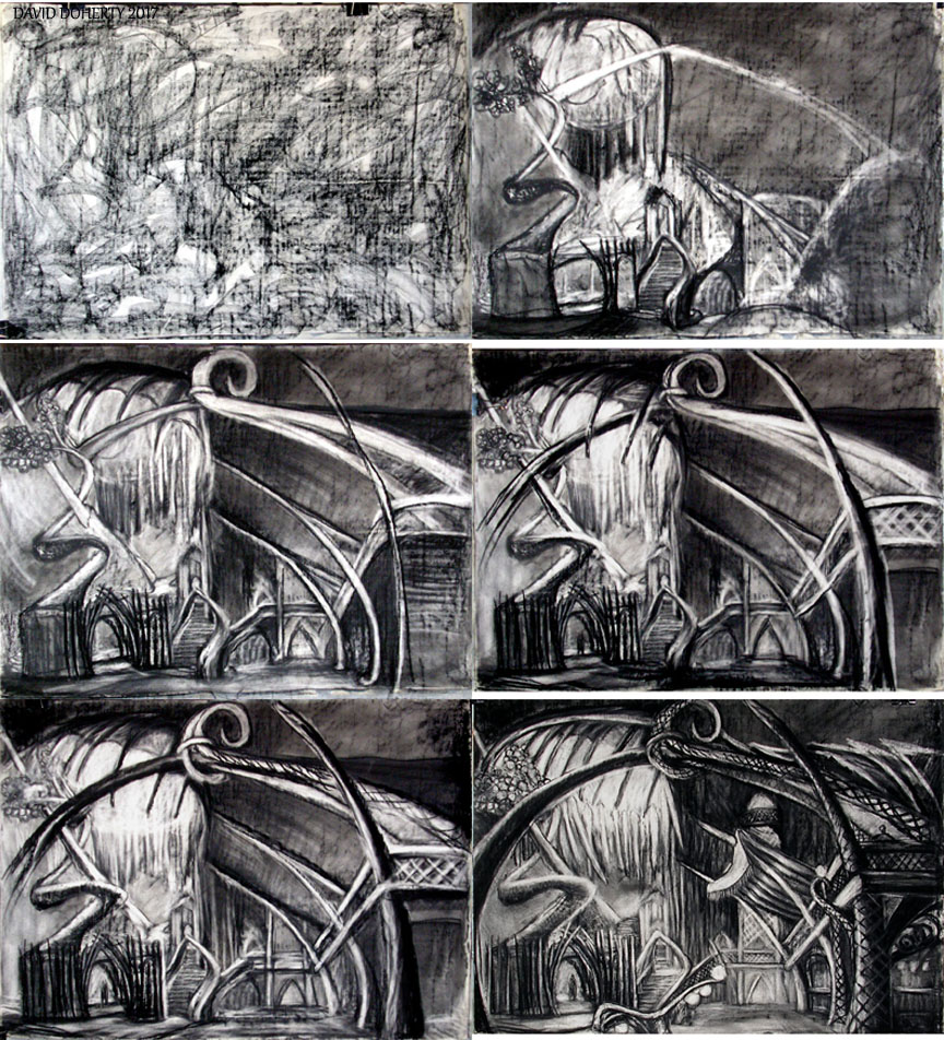 My process of creating the drawing Razing the Park / charcoal, pastel on paper