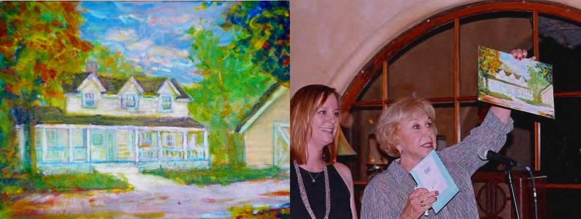 """Waltons Home, presented by Michael Learned, after entire Waltons cast signed the back, to show Producer Lee Rich / 8.5"""" x 11"""" acrylic on board"""