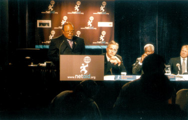 """Quincy Jones at the launch of """"NetAid"""""""
