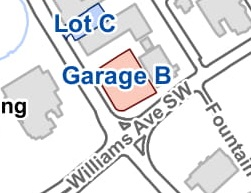 Garage B - Garage B is a multi-level parking facility conveniently located on the corner of Church and Williams; however, the entrance is on Fountain Circle.No Cost - provided to the runners by the City of Huntsville