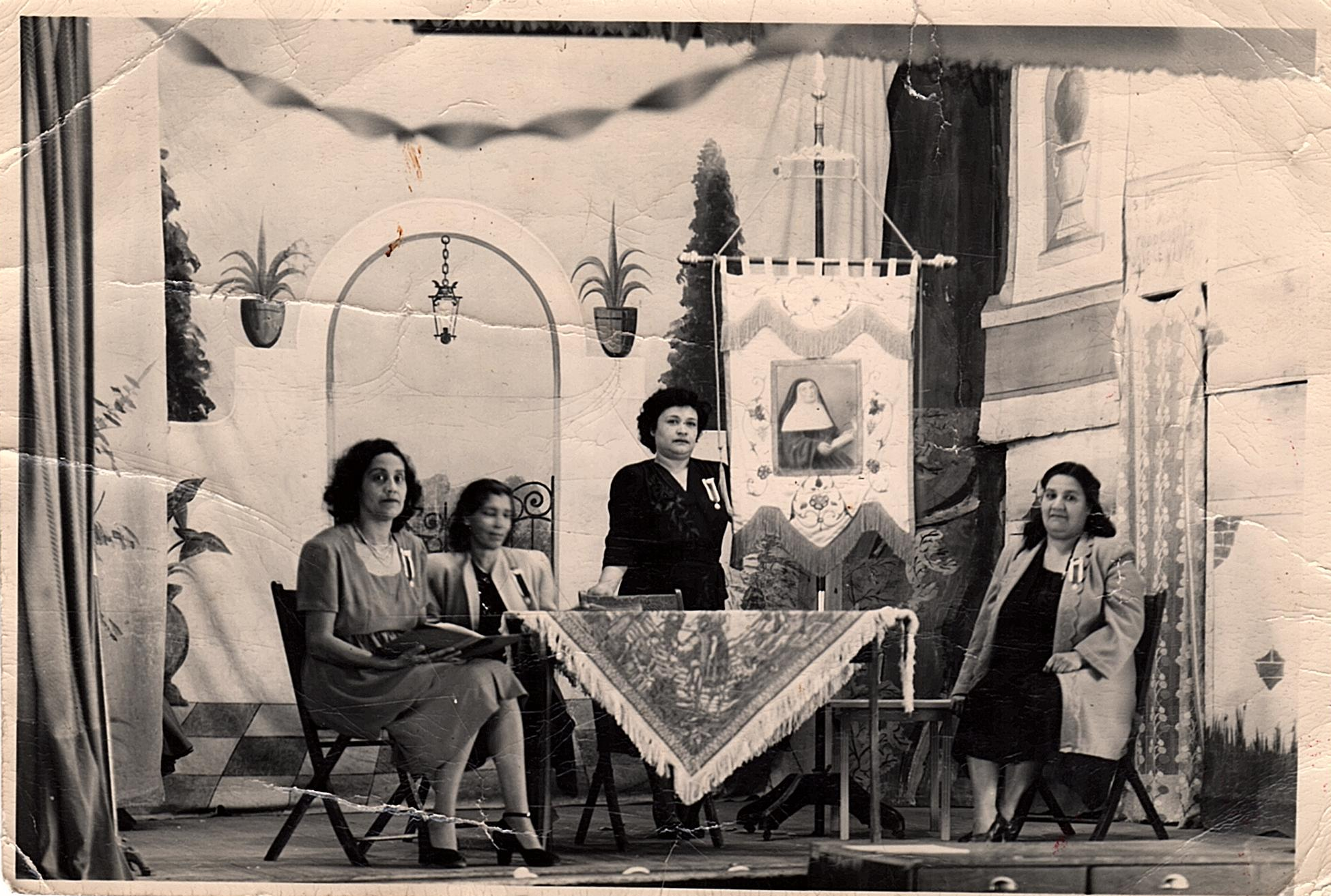 Ayala, Agapita (1907)— (standing), with Cuca Elias (r) and 2 unk women El Santo Niño Church, ca nid-1940s.png