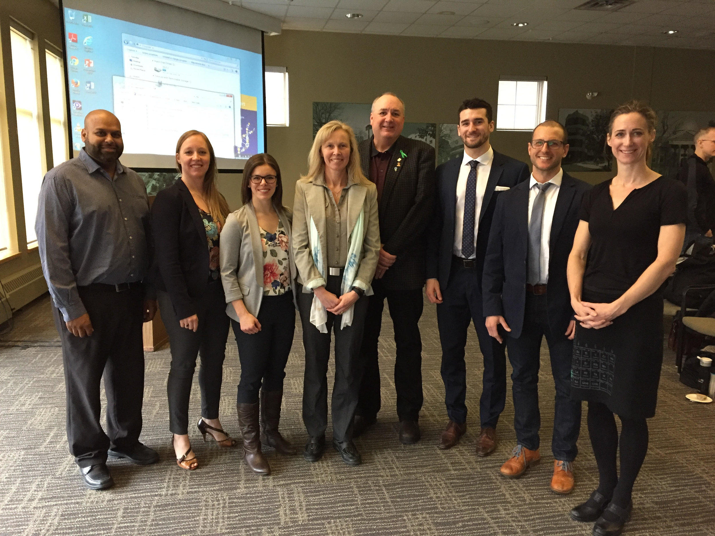 Our Laurier Chapter has hosted a concussion symposium for the Kitchener/Waterloo public for the past five years. The 2017 Symposium featured speakers (left to right) Dr. Randy Bahadour, Dr. Kristine Dalton, Katie Mitchell (PhD candidate), Dr. Jill Tracey, Gordon Stringer, Ben Fanelli, Dr. Michael Cinelli, and Dr. Jayne Kalmar