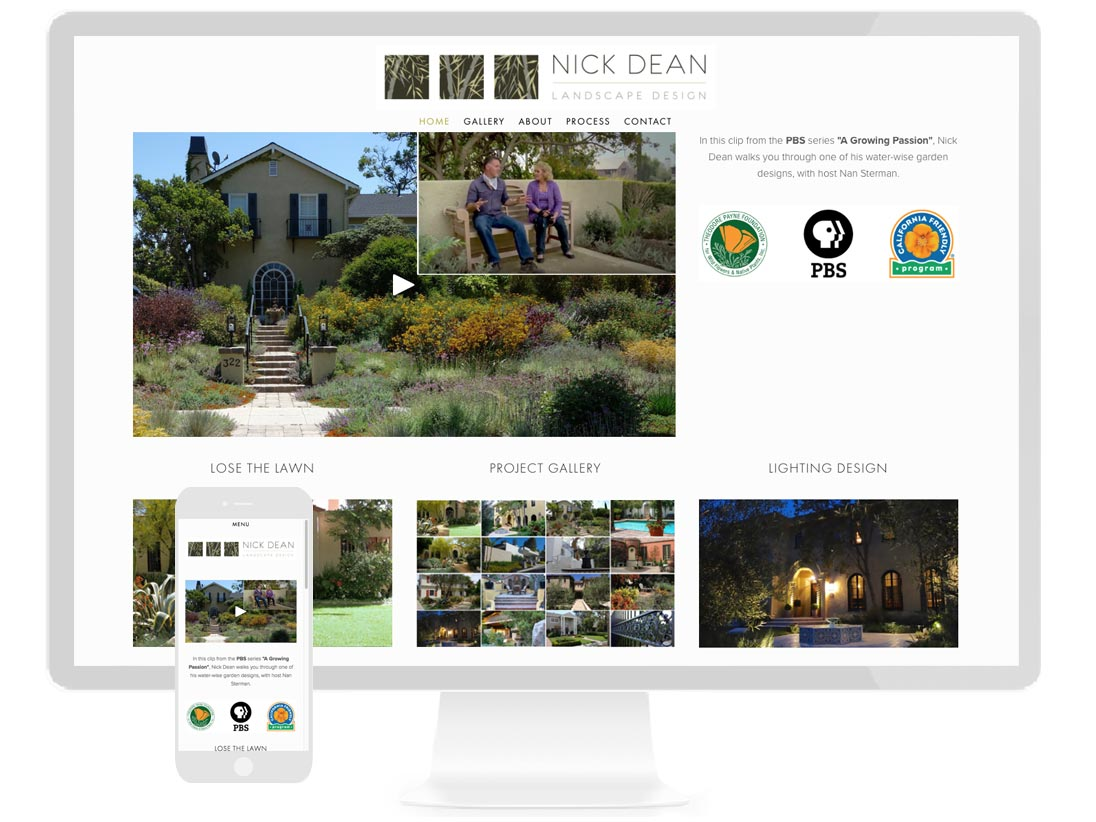 NICK DEAN LANDSCAPE DESIGN Award winning designer specializing in low water gardens - design by Sterling Visuals, development by Squarespace
