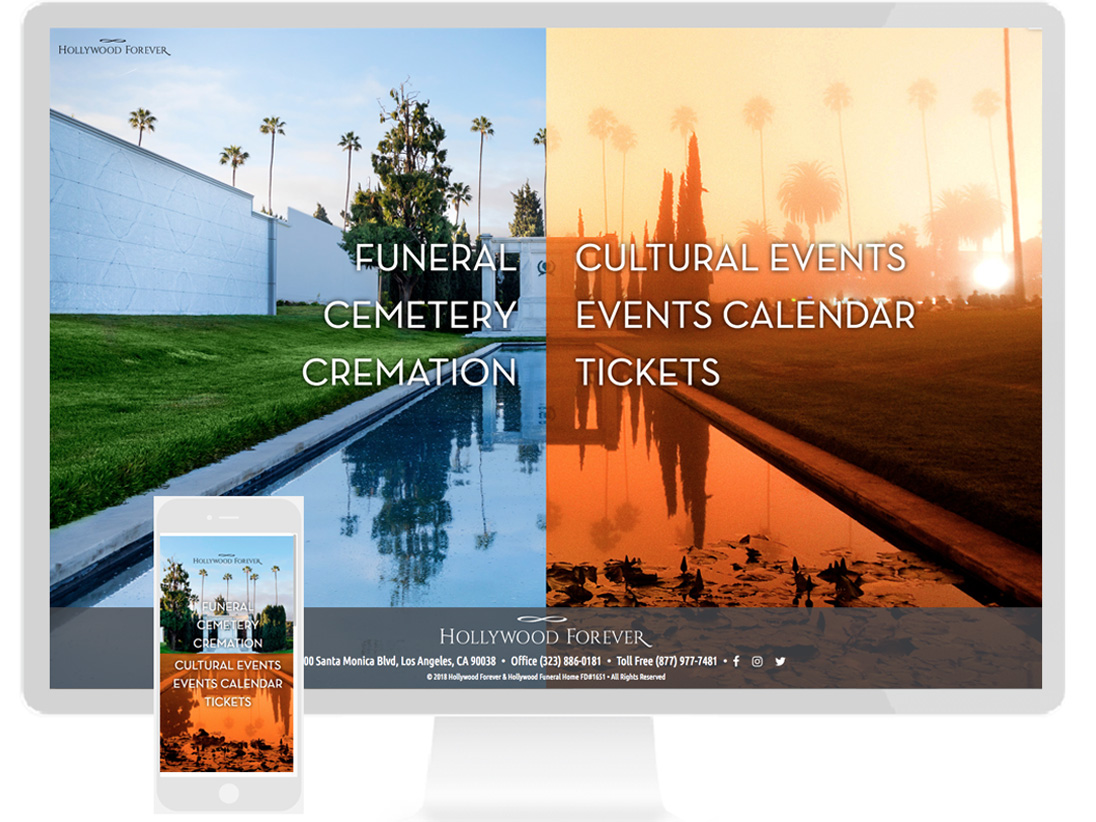 HOLLYWOOD FOREVER: A full service funeral home, crematory, cemetery and cultural event center in the heart of Hollywood - design by Sterling visuals, development by  Business Smarts