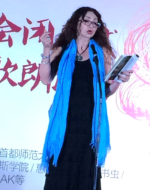 Sholeh Wolpé at the Beijing International Poetry Festival.