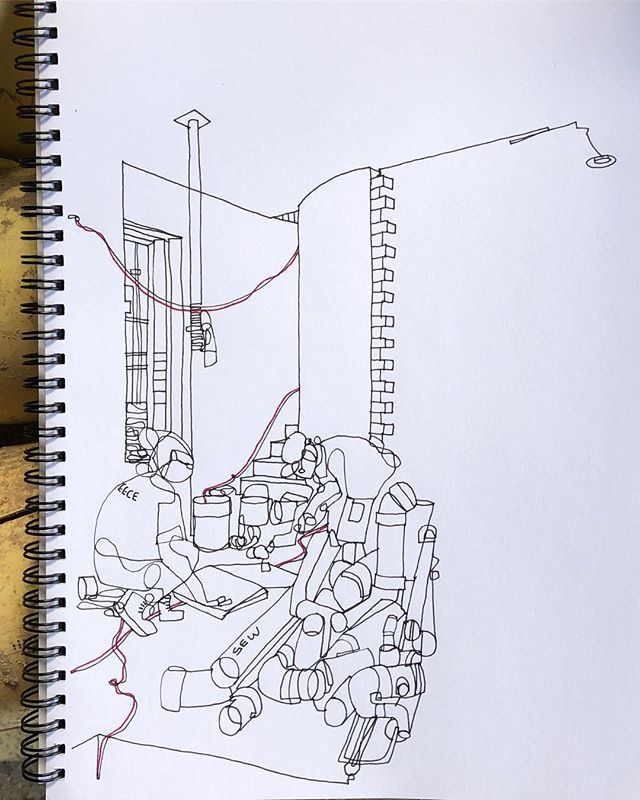 A quick sketch whilst the plumber and @jasonlaw7 from @ballast_construction work out the setting out of a new powder room on site. The old pipework was stacked in a way that looked like an art installation. Swipe for context and action #honbriggsdesign #constructionsketches