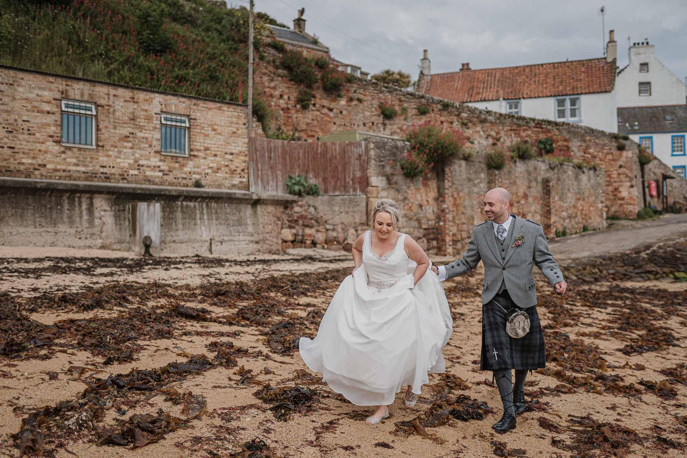 Crail harbour wedding photo
