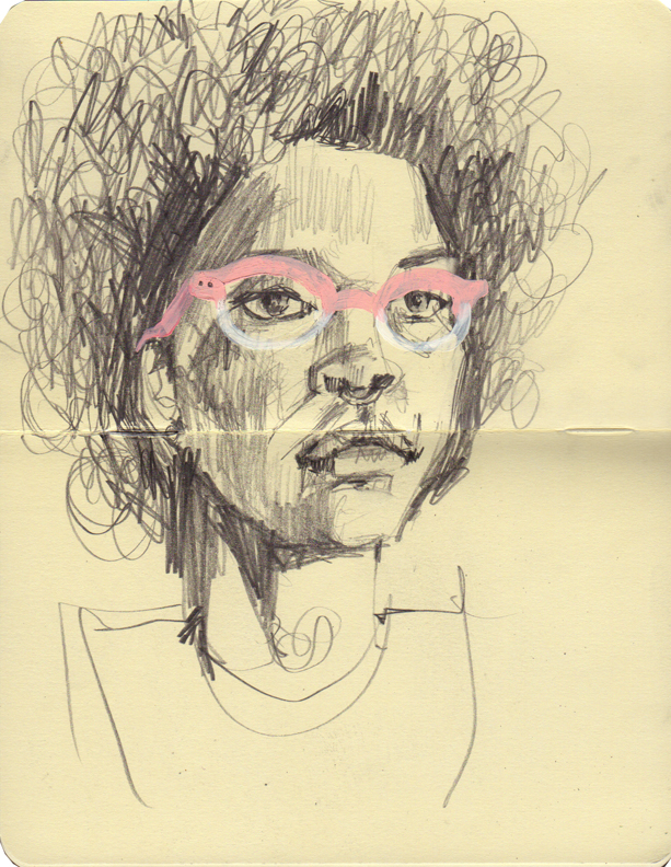 Drawing from a portrait model. I added the pair of 3.1 Phillip Lim glasses