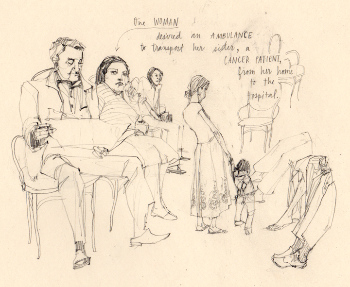 Discarded sketch from an illustration assignment  - About the people in waiting rooms of Brazilian politicians