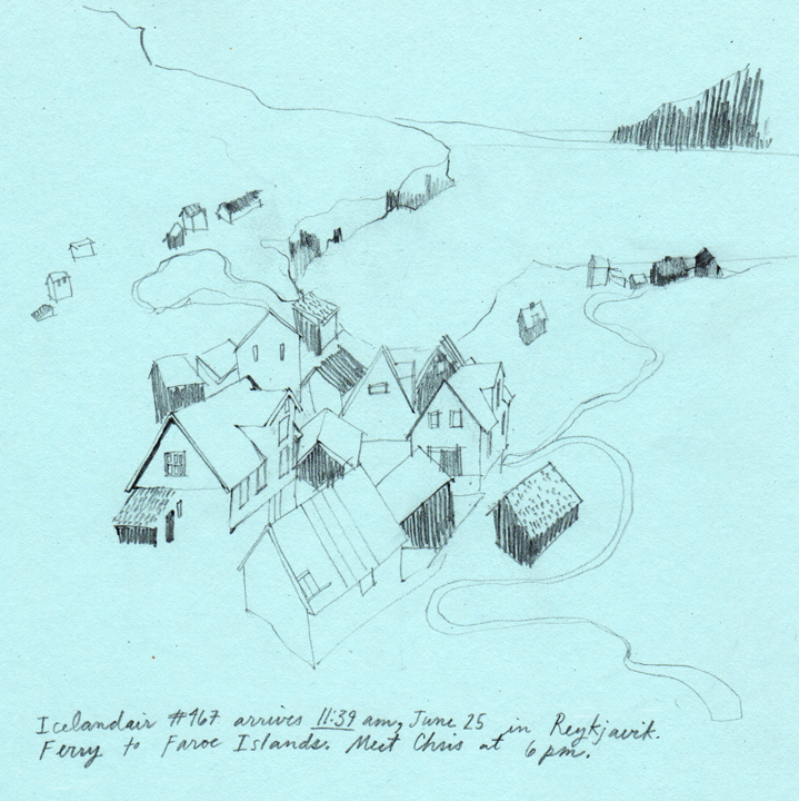 Discarded sketch from an illustration assignment - About the Faroe Islands in Iceland