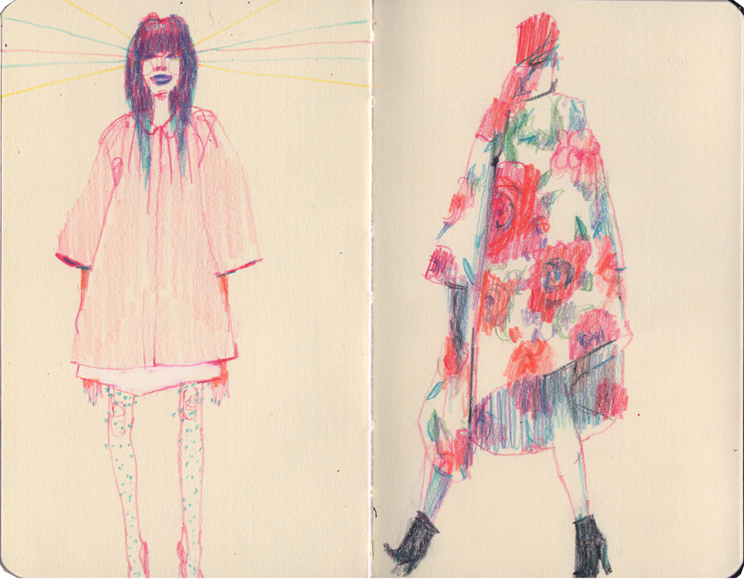 Morning warm up sketches inspired by Karen Walker Mainline A/W 13 and Commes des Garçons F/W 12