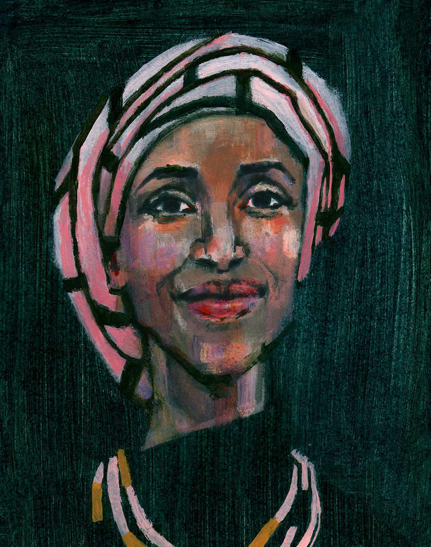 "Ilhan Omar, the newly appointed representative of Minnesota's 5th district and one of the first two Muslim American women elected to Congress. Part of a series of ""History Makers"" from the 2018 mid-term elections."