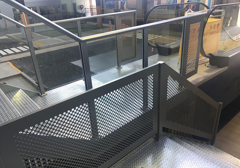Shown above: Perforated and semi-frameless glass balustrade systems