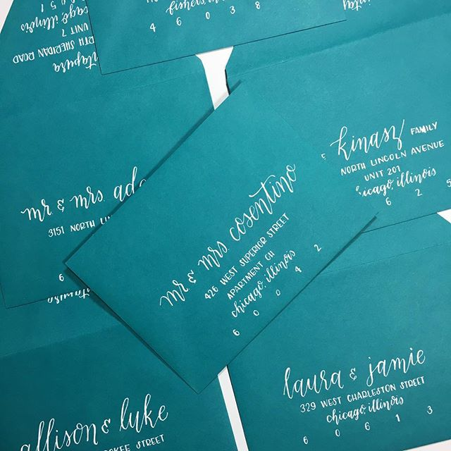 Colored envelopes, yay or nay?? Don't get me wrong, I love a neutral more than anyone but color definitely signifies fun mail (vs. bills...)! . . . . . #intapcalligraphy #calligraphy #calligrapher #chicagocalligraphy #moderncalligraphy #moderncalligrapher #pointedpen #pointedpencalligraphy #chicagocalligrapher #handlettered #handlettering #typespiration #typography #babyshower #invitationinspo #designspiration