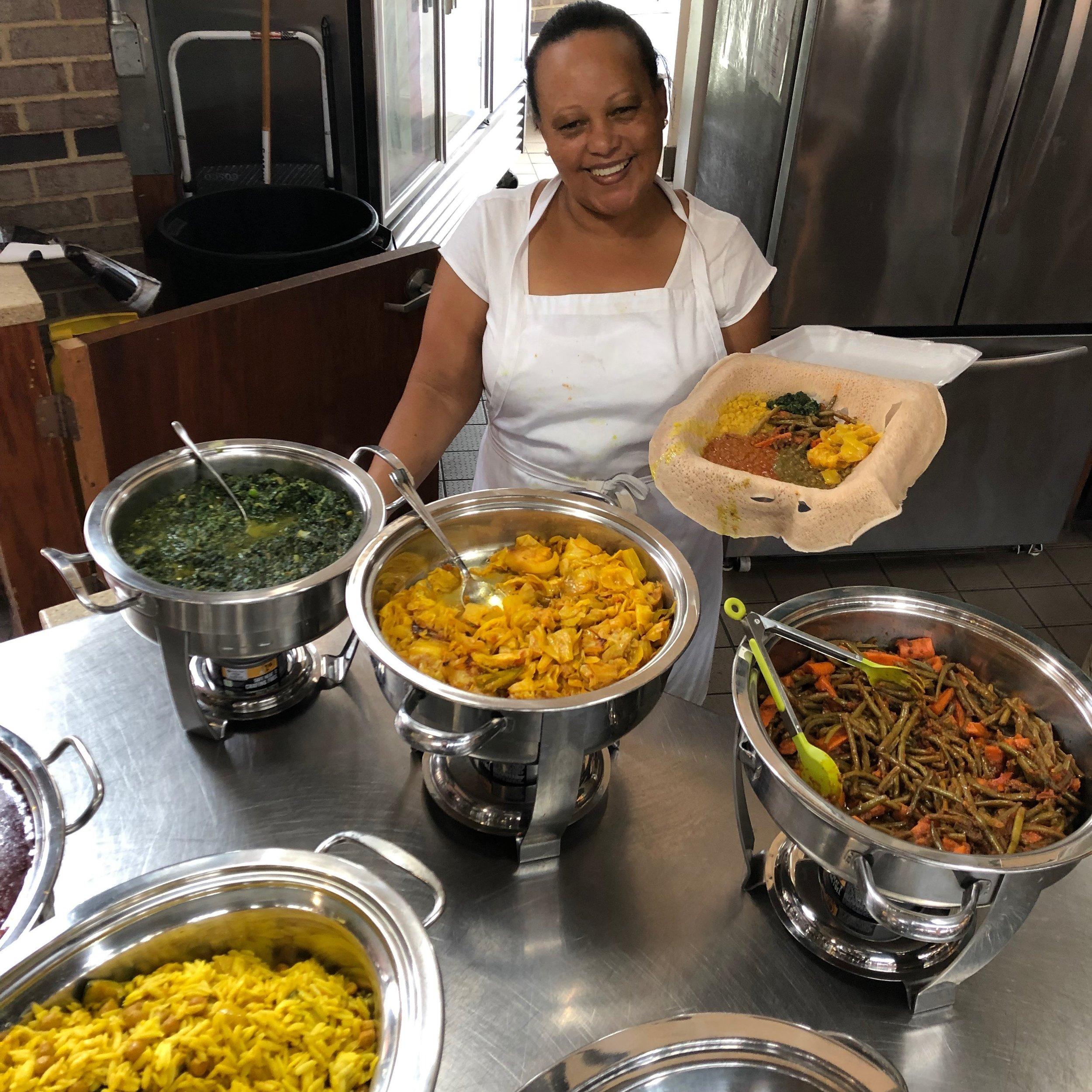 A sampling of vegetarian offerings from Legumes Ethiopian