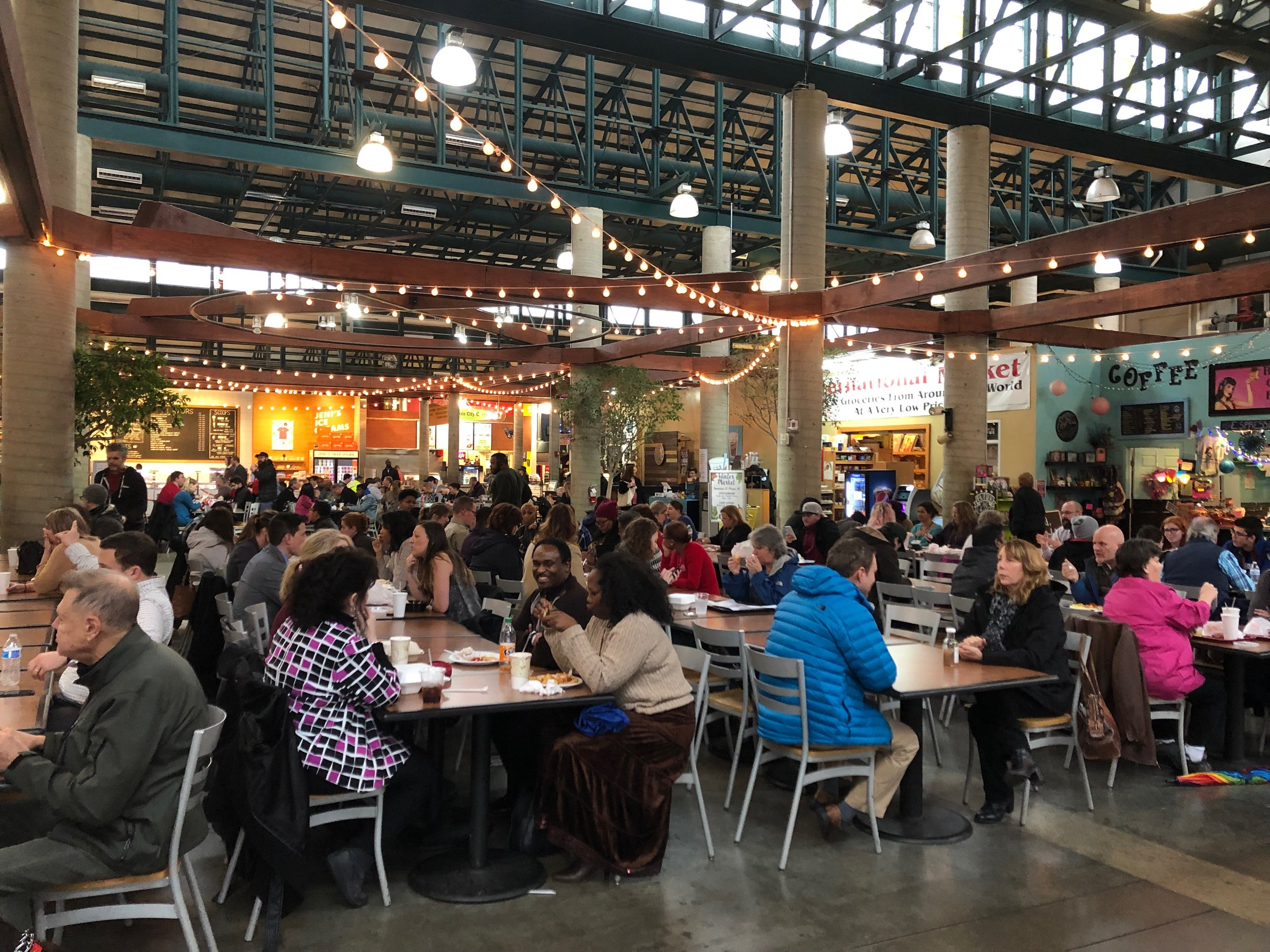 Lunchtime at the Market can be busy, but service is typically fast. Outdoor seating is popular when the weather warms.