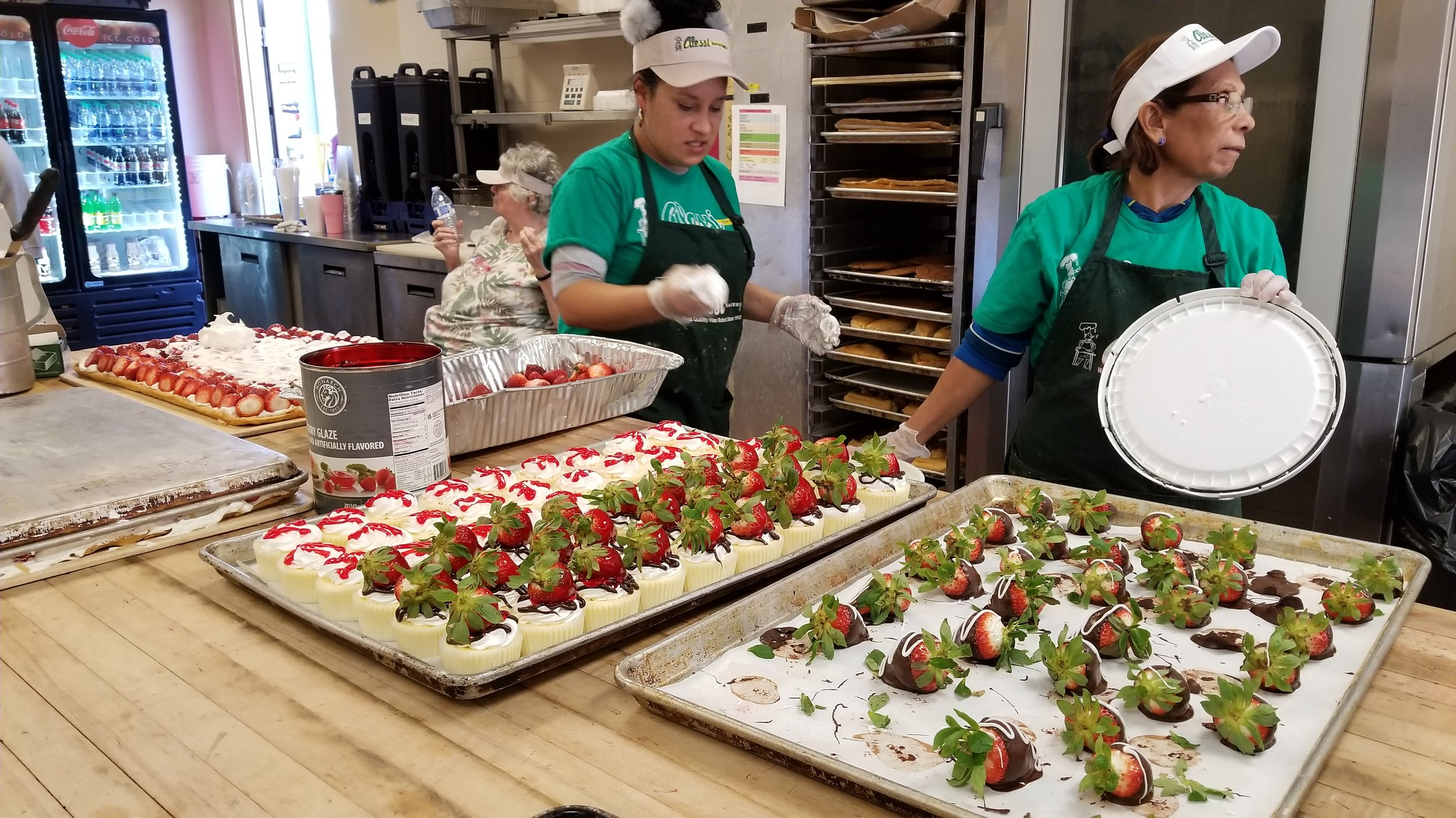 Serving up strawberry treats at the Strawberry Festival in Plant City, Florida