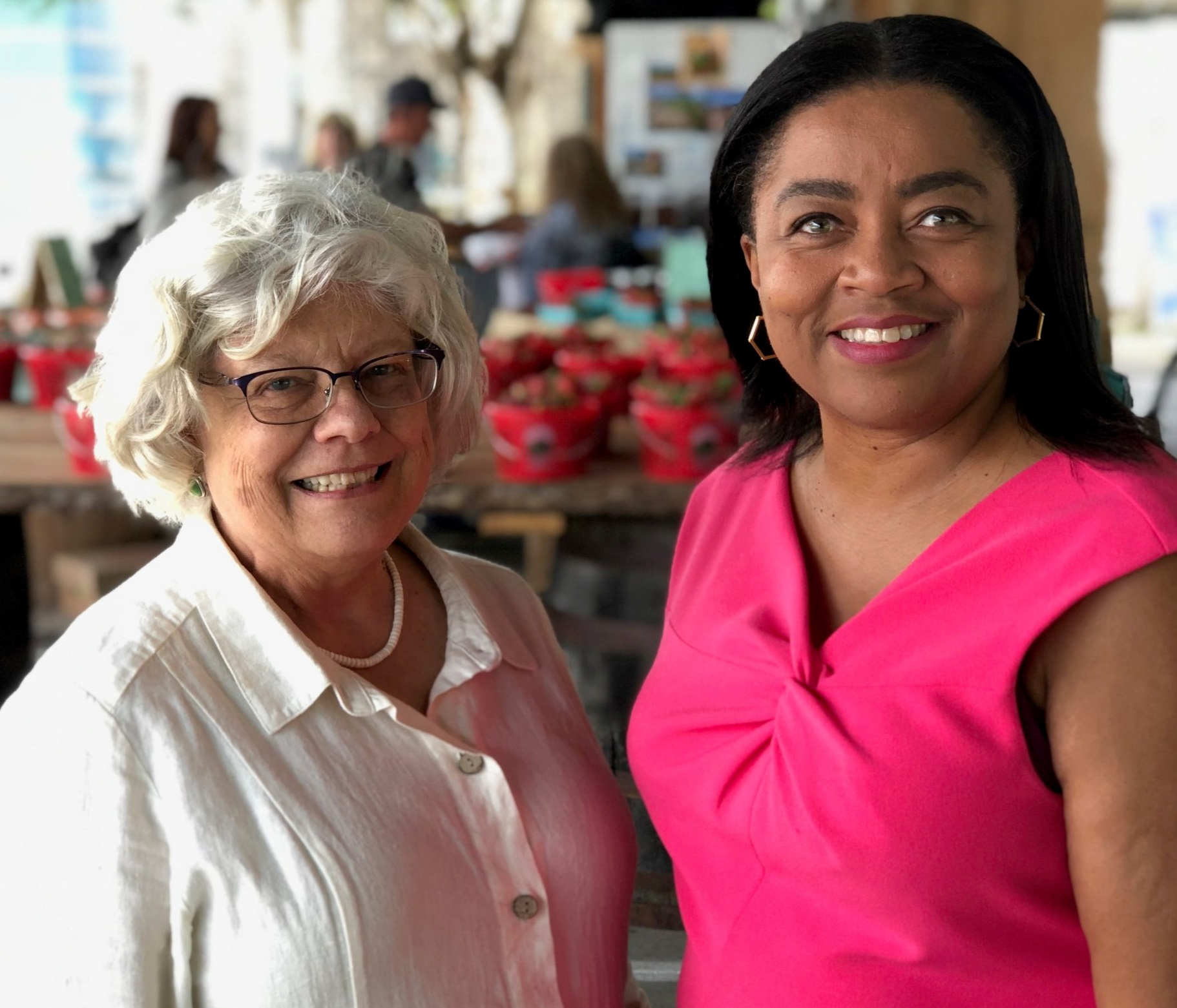 Brenda Butka (left) and Angela Crane-Jones are the newest members of the Nashville Farmers' Market Board of Directors. Angela, who is filling out the term of her predecessor, will serve until 2021. Brenda's term will expire in 2024.
