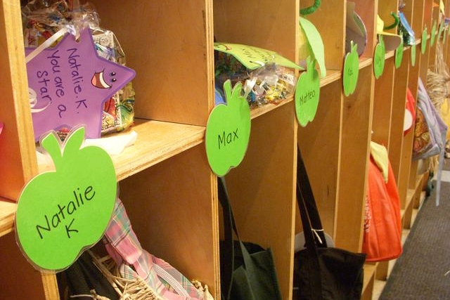 Check out your cubby. - On your first day of school, you'll find a cubby with your name on it. Put your things away, and then...
