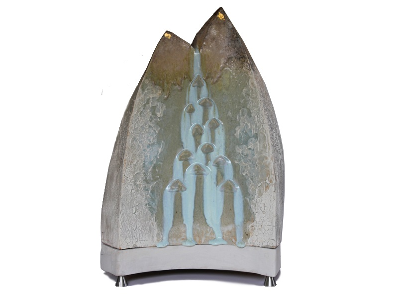 Frozen Cascade 2013  54H X 36W X 28D  ceramic, wood, stainless steel