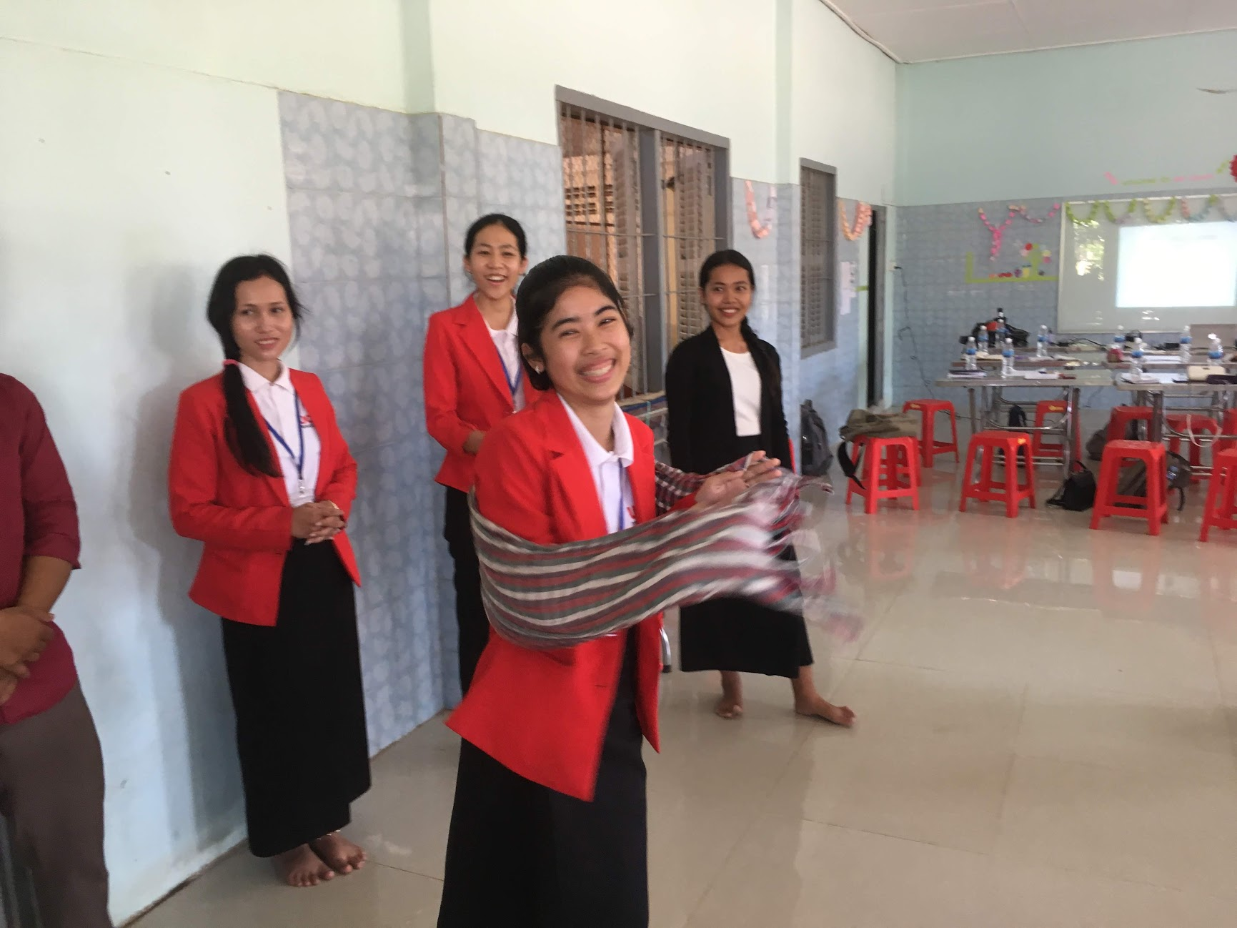 "Teaching primary teachers in Kampot, Cambodia, ""This is not a Kroma, it is a……"" as part of TEYL workshop series July, 2019"