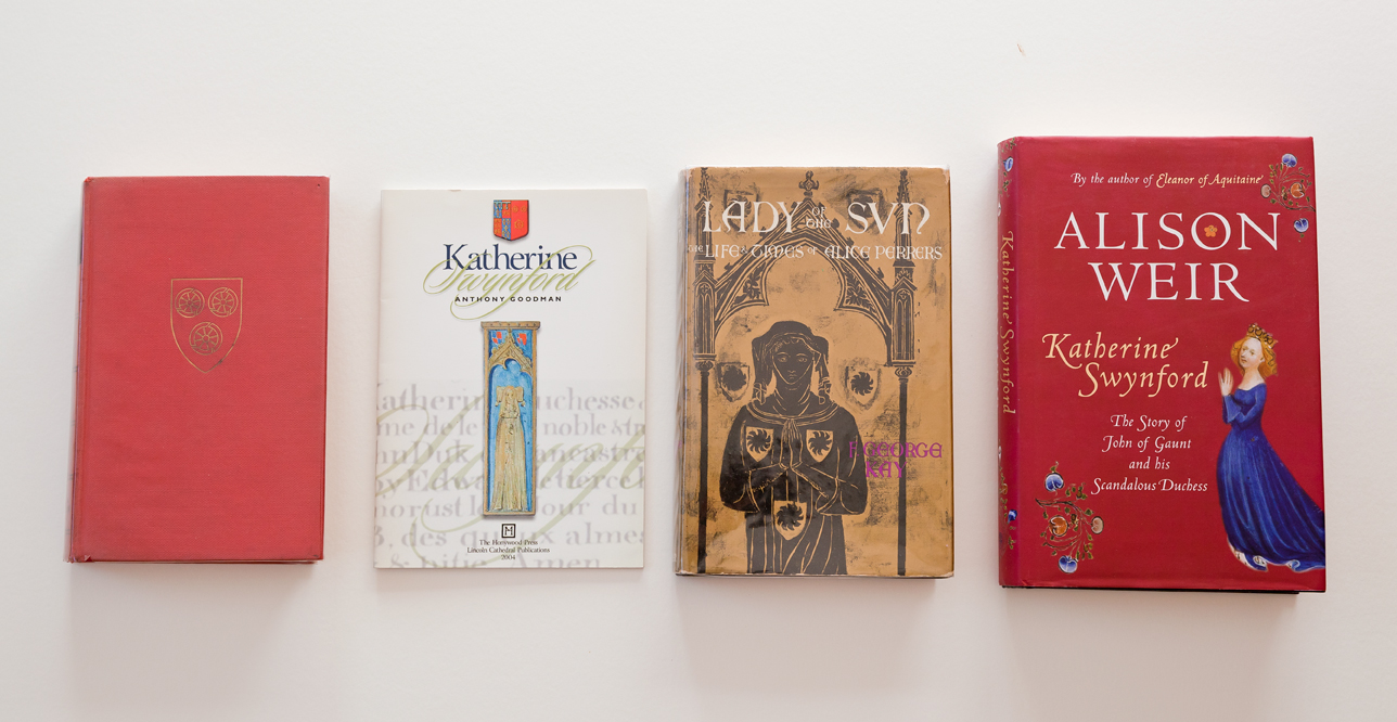 From left to right:  Katherine  by Anya Seton,  Katherine Swynford  by Anthony Goodman,  Lady of the Sun: The Life and Times of Alice Perrers  by F. George Kay, and  Katherine Swynford: The Story of John of Gaunt and his Scandalous Duchess  by Alison Weir. (I realise that you're perfectly capable of reading the titles on the covers where they appear, but just in case the images are too small on mobile I'll caption them anyway!)