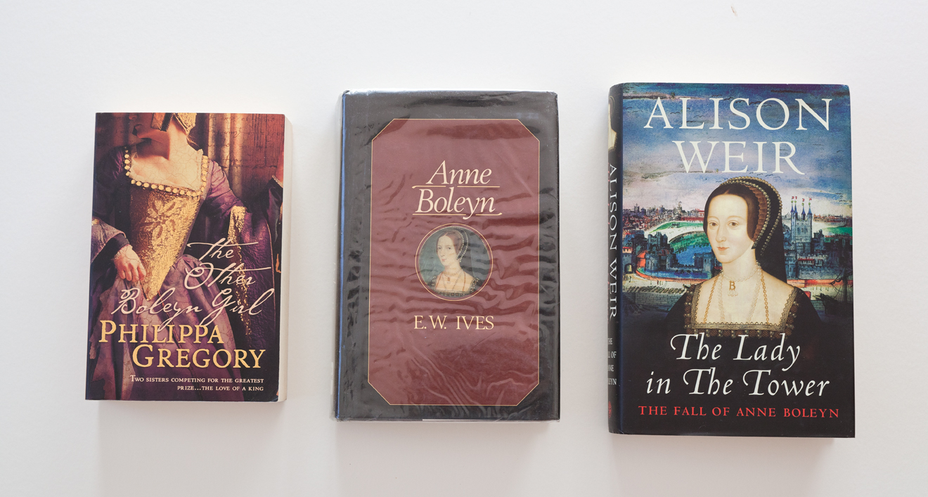 From left to right:  The Other Boleyn Girl  by Philippa Gregory,  Anne Boleyn  by E.W. Ives, and  The Lady in the Tower: The Fall of Anne Boleyn  by Alison Weir.