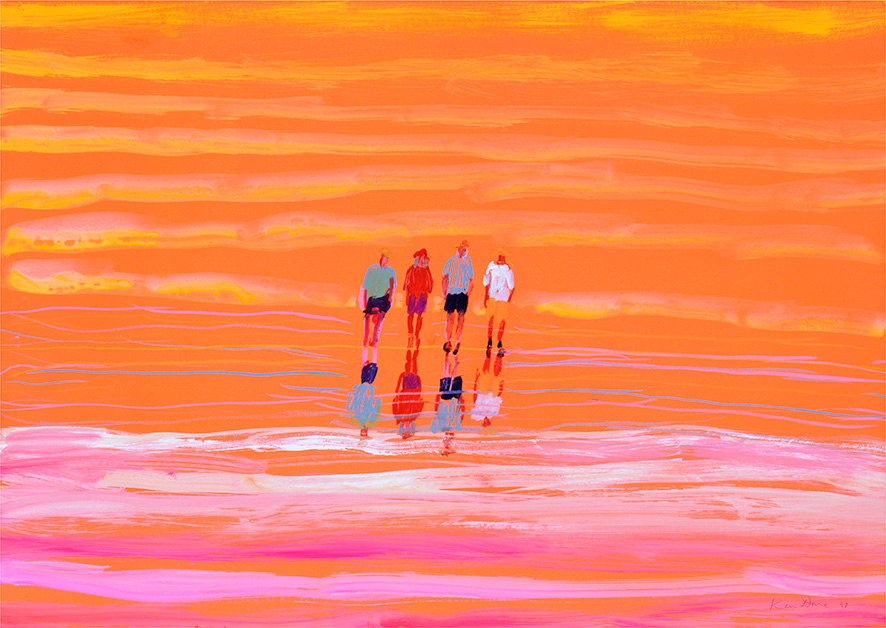 Walking at Lake Eyre, by Ken Done