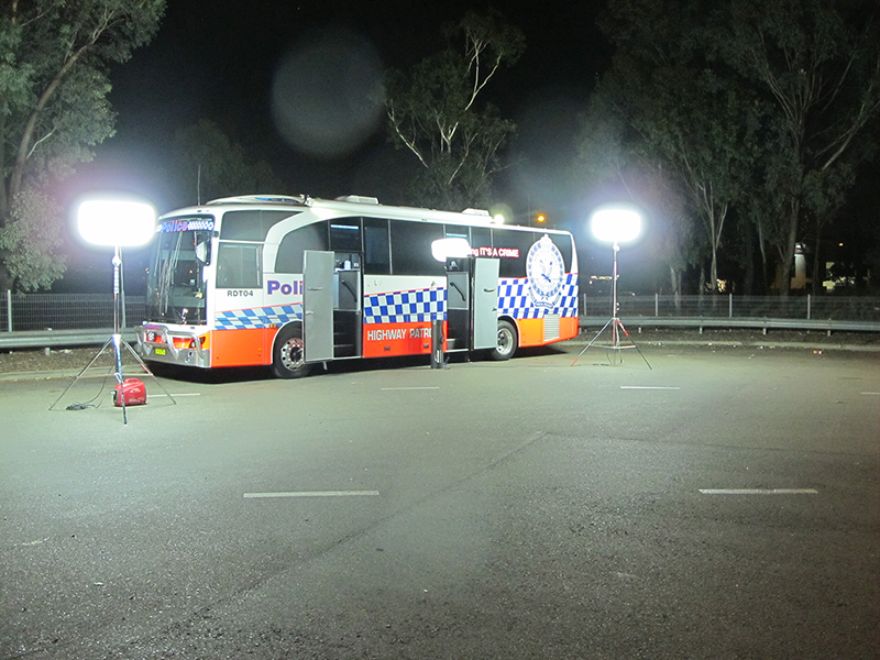 With 2 x 600w LED's, each mounted on adjustable tripod and powered by 1kva. Safer for crew, safer for motorists.