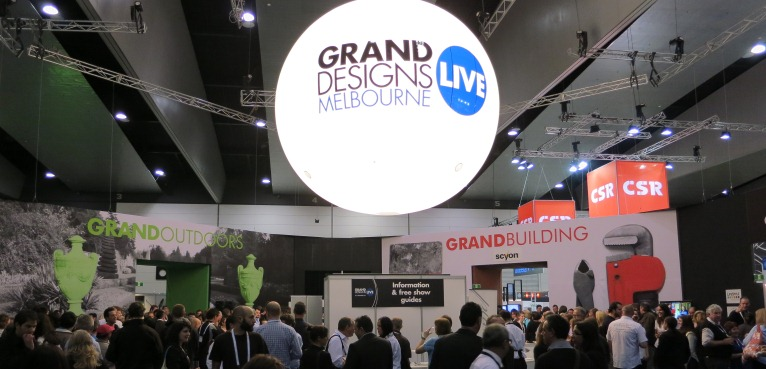 The end result. A 3.7m diameter centre-piece at the entry to a trade show dominates in a cavernous space.