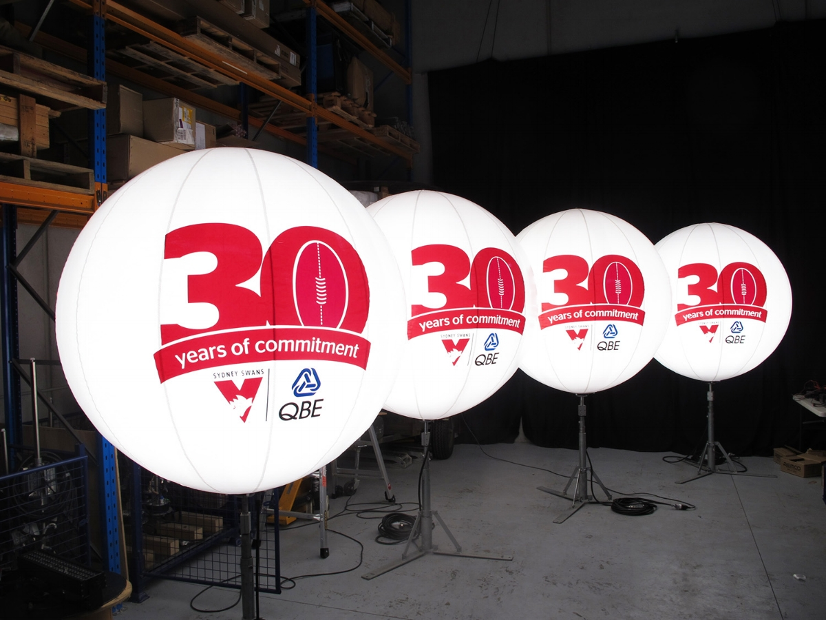 Logos applied for Sydney Swans celebration of a 30 year partnership with QBE, for activation at the SCG.