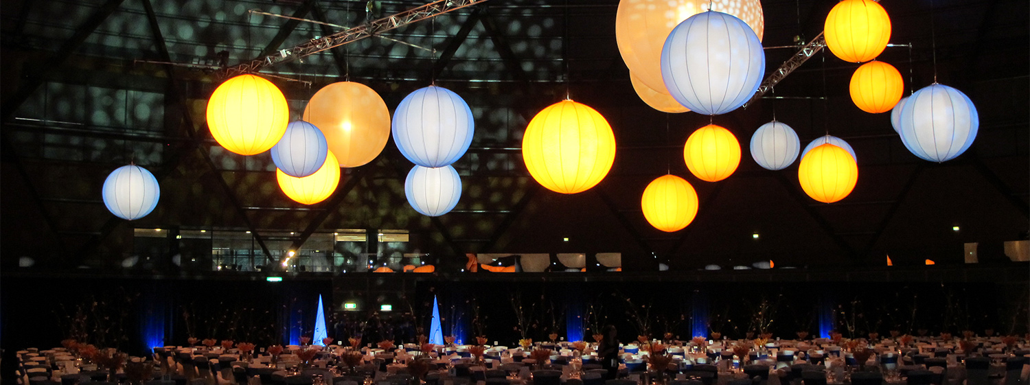 """The Dome, Sydney Olympic Park. Suspended Airstars and LED """"cones"""" around the floor."""